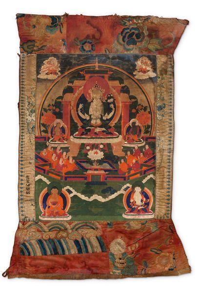 TIBET FIN DU XVIIIE SIÈCLE Tangkha représentant un Avalokitesvara à quatre bras,...