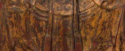 CHINE XVIIIE - XIXE SIÈCLE Importante statue en bois laqué et doré, représentant...
