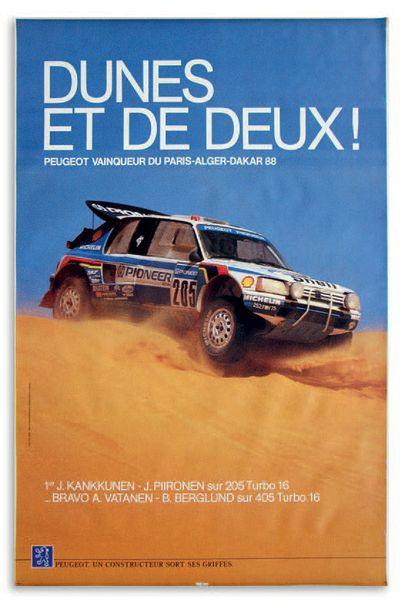 PEUGEOT 205 TURBO 16 Lot de 2 affiches représentant le vainqueur du Paris Alger Dakar...