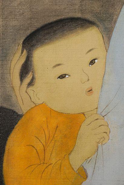 MAI TRUNG THU (1906-1980) Femme et enfant devant un autel, 1953 Encre et couleurs...