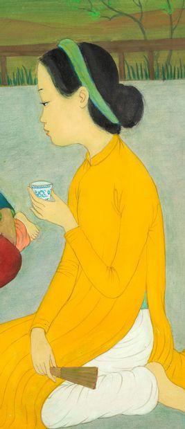 MAI TRUNG THU (1906-1980) La cérémonie du thé, 1971 Encre et couleurs sur soie, signée...