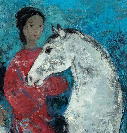 VU CAO DAM (1908-2000) Cavalière, 1963 Huile sur toile, signée et datée en bas à...