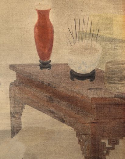 VU CAO DAM (1908-2000) Le culte des ancêtres, 1942 Encre et couleurs sur soie, signée...