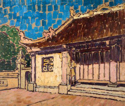 JULES GALAND (1870-1924) Phu Nghia, février 1910 Huile sur carton, signée en bas...