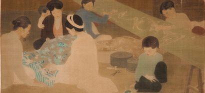 LUONG XUAN NHI (1913-2006) Le tricot, 1941 Encre et couleurs sur soie, signée et...