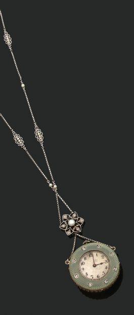 COLLIER «MONTRE DE DAME» Perle mabe et diamants...