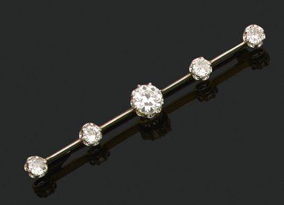 BROCHE «BARETTE» Diamants taille ancienne...