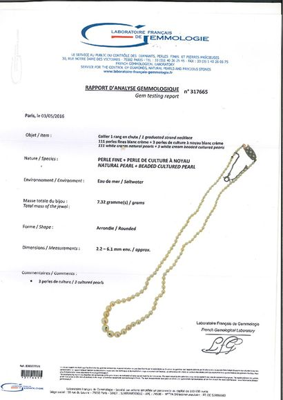 «PERLES FINES ET CULTURE» Collier de 111 perles fines et 3 perles de culture en...