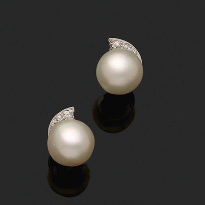 «PERLES FINES» Paire de motifs d'oreilles Perles fines boutons, diamants taille...