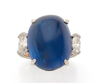 BAGUE «SAPHIR» Saphir cabochon, diamants...