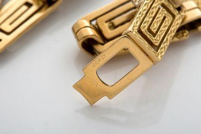 CARTIER Sautoir géométrique Or 18k (750) Signé, numéroté L. : 91 cm env. - Pb. :...