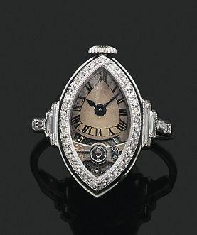 BAGUE «MONTRE ART DÉCO» Diamants tailles...