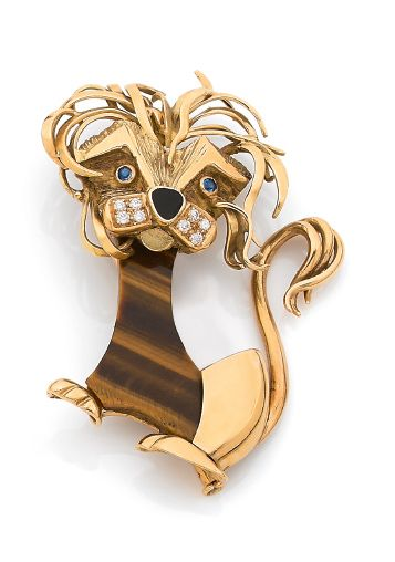 CLIP «LION» Oeil de tigre, diamants, saphirs,...