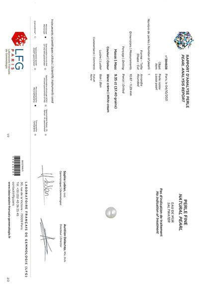 «PERLE FINE» Accompagnée d'un certificat LFG N°384608 attestant : Perle fine, eau...