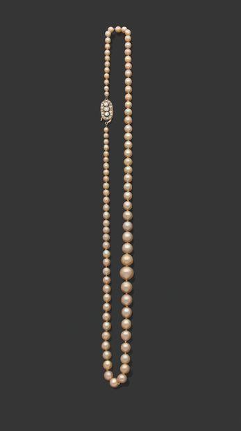 «PERLES FINES» Collier de 85 perles fines en chute Fermoir diamants et or gris 18k...