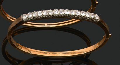 BRACELET «JONC» Diamants taille ancienne...