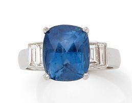BAGUE «SAPHIR» Saphir taille coussin, diamants...