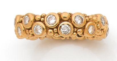 BAGUE Diamants sertis clos, or jaune 18k...