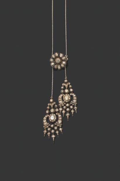 COLLIER «NÉGLIGÉ» Diamants taille rose sur paillon, argent ( Époque XIXème - Écrin...