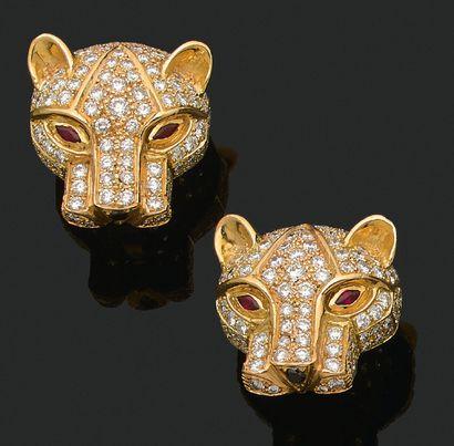 PAIRE DE CLIPS D'OREILLES «PANTHÈRE» Diamants...