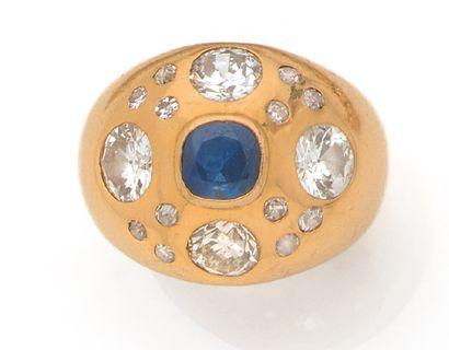 BAGUE «BOULE» Saphir, diamants taille ancienne...