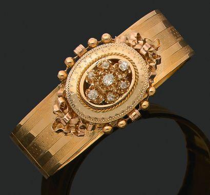 PARURE «NAPOLÉON III» Bracelet, pendentif-broche...