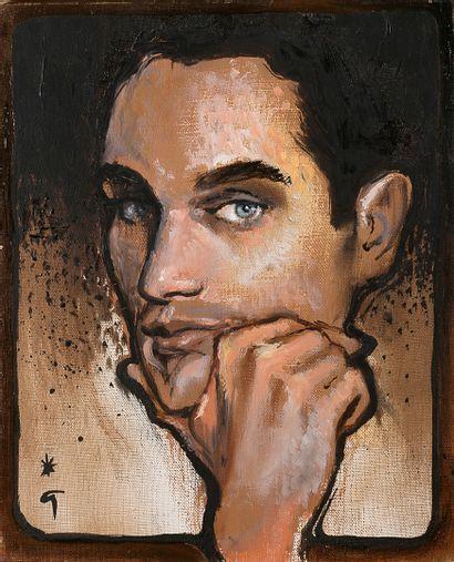 RENÉ GRUAU (1909-2004) Portrait de jeune homme Huile sur toile, signée en bas à gauche...