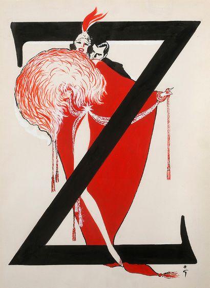 RENÉ GRUAU (1909-2004) Les Ziegfeld Follies Encre, aquarelle et technique mixte sur...