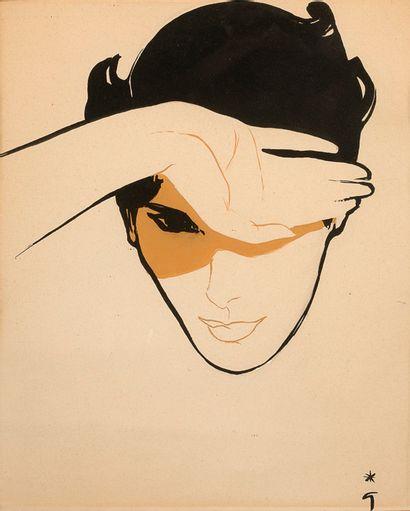 RENÉ GRUAU (1909-2004) Homme se cachant du soleil Encre, gouache et technique mixte...