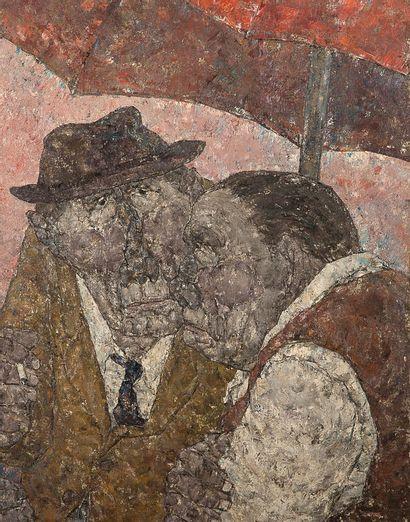 AKIRA TANAKA (1918-1982) Le parasol rouge, 1972 Huile sur toile, signée en bas à...