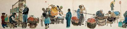 MA HAIFANG (né en 1956) Scènes traditionnelles de la vie de Beijing Encre et dessin...