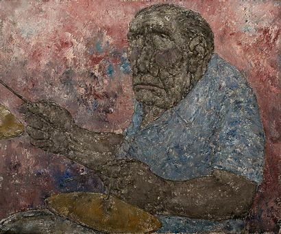 AKIRA TANAKA (1918-1982) La batterie, 1970 Huile sur toile, signée en bas à droite,...