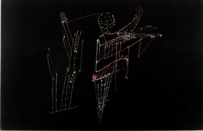 FREDERICK SOMMER (1905-1999) Untitled, 1950 Glue colour drawing on black paper Signed...