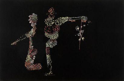 FREDERICK SOMMER (1905-1999) Untitled, 1950 Dessin couleur sur chiffon gélatiné noir,...