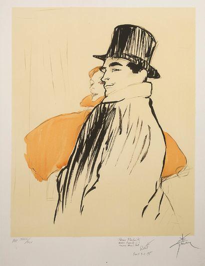 RENÉ GRUAU (1909-2004) Couples d'élégants Lithographie sur papier, signée, datée...