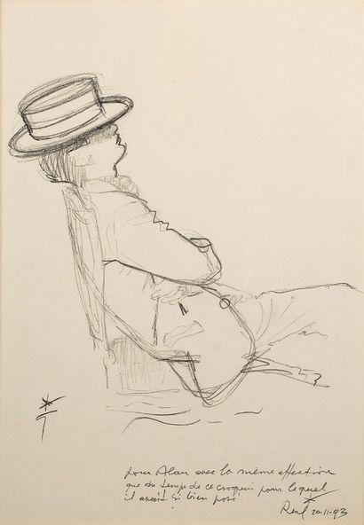 RENÉ GRUAU (1909-2004) Homme assis de profil Crayon sur papier, signée en bas à gauche...