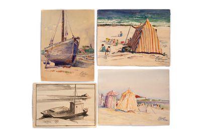 GAUDET ÉTIENNE (1891-1963) Suite de 58 aquarelles sur papier signées, certaines datées...
