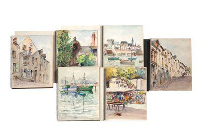 GAUDET ÉTIENNE (1891-1963) Suite de 238 aquarelles sur papier signées, certaines...
