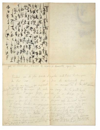 DALI Salvador (1904-1989). MANUSCRIT autographe avec DESSINS, [vers 1961 ?]; 2 pages...
