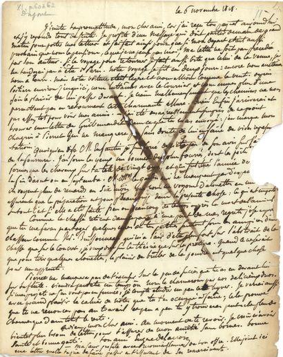 DELACROIX Eugène (1798-1863). 2 L.A.S. «Eugène Delacroix», novembre-décembre 1818,...