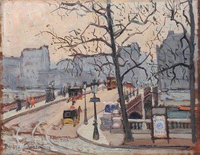 Edmond CERIA (1884-1955) Quai des Grands Augustins à Paris Huile sur panneau Signé...