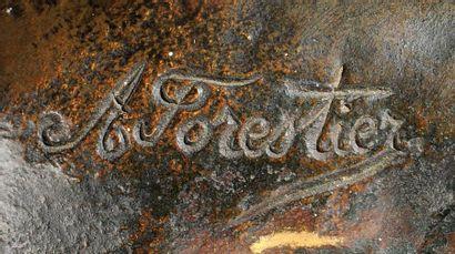 ANTONIN FORESTIER (1865-1912) Epreuve en bronze à patine brune figurant un buste...