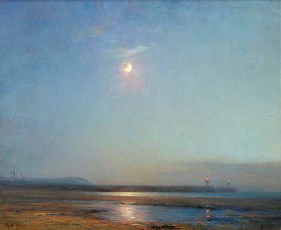 Georges RICARD-CORDINGLEY (1873-1939) Clair de lune, plage de Boulogne, 1910 Huile...