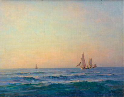 Georges RICARD-CORDINGLEY (1873-1939) Trois voiliers, pleine mer Huile sur toile...
