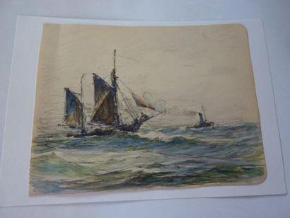 Georges RICARD-CORDINGLEY (1873-1939) Lot de 6 dessins et aquarelles: 1- Tartanes...