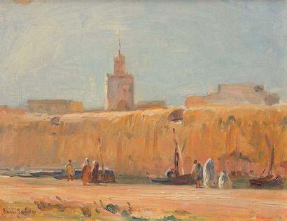 Georges RICARD-CORDINGLEY (1873-1939) Remparts roses, Maroc, 1933 Huile sur papier...