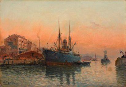 Jules VERNIER (1862-1937) Le Port Huile sur toile Signée en bas à gauche 38 x 55...