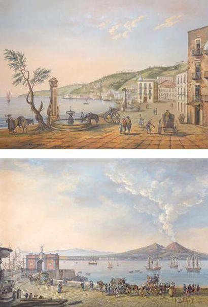 Ecole Napolitaine Paire de gouaches sur papier en pendants La Riviera de Chiapa 61...