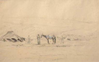 Georges RICARD-CORDINGLEY (1873-1939) Campement au Maroc/Chameau au Maroc 1933 Encadrement...