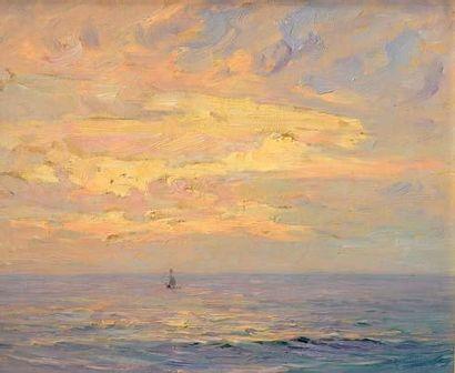 Georges RICARD-CORDINGLEY (1873-1939) Effets de lumière sur la mer Huile sur toile...